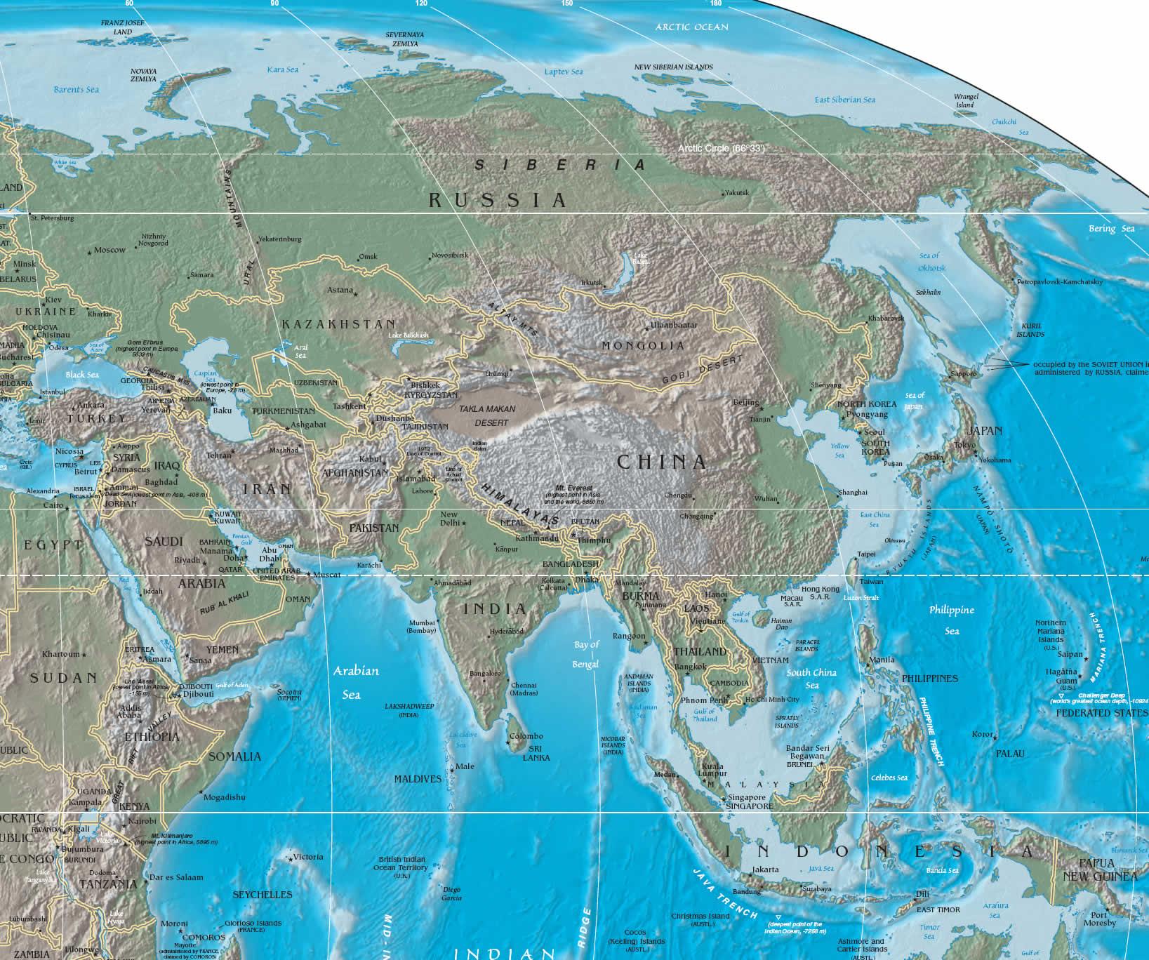 Asia Orientale Cartina Politica.Asia Cartina Muta Fisica
