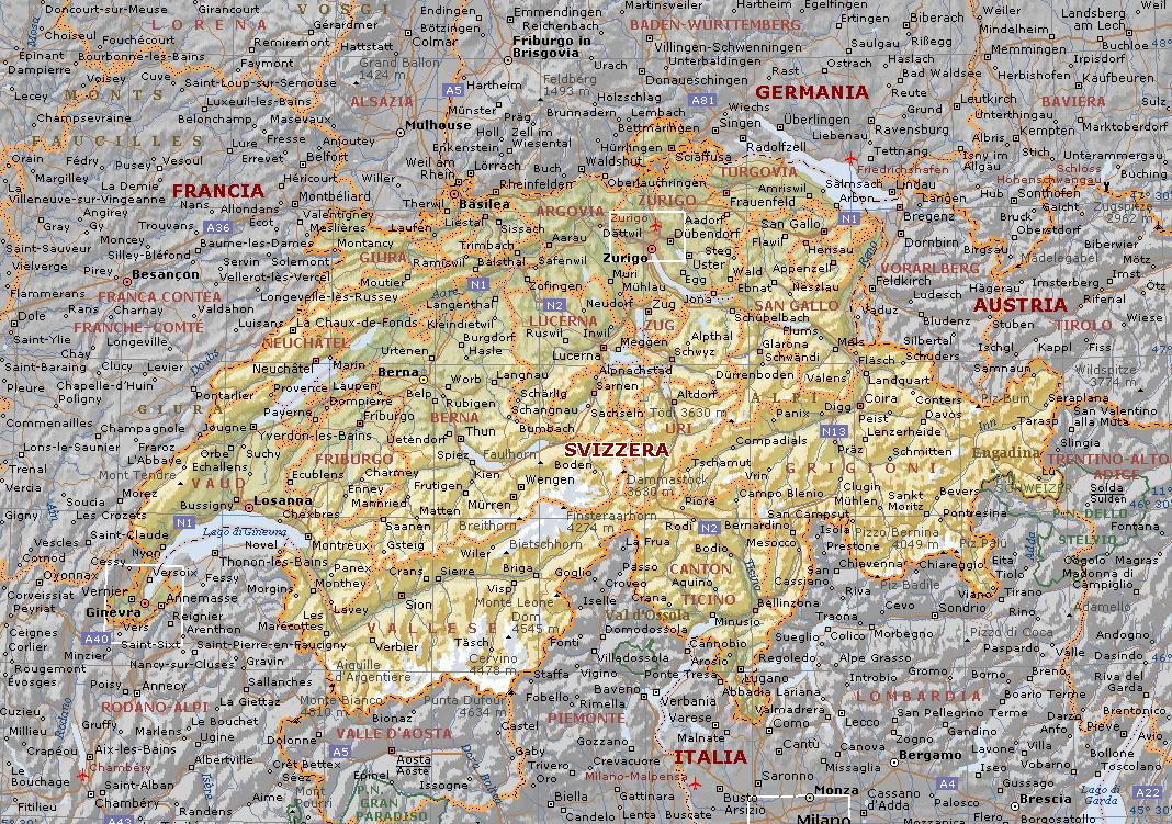 Cartina Geografica Svizzera.Svizzera Mappa Fisica